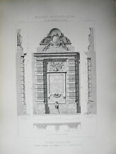 GRANDE PLANCHE XX° ARCHITECTURE STYLE LOUIS XIV BAROQUE FONTAINE ST MARTIN PARIS