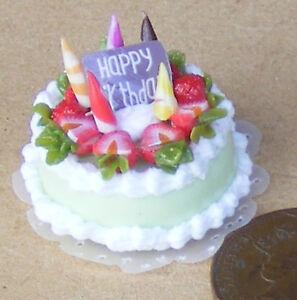 Échelle 1:12 Gâteau D'anniversaire Avec Lime Icing Dolls House Bakery Accessoire Nc46-afficher Le Titre D'origine 5x9nwxqf-07160022-932370003