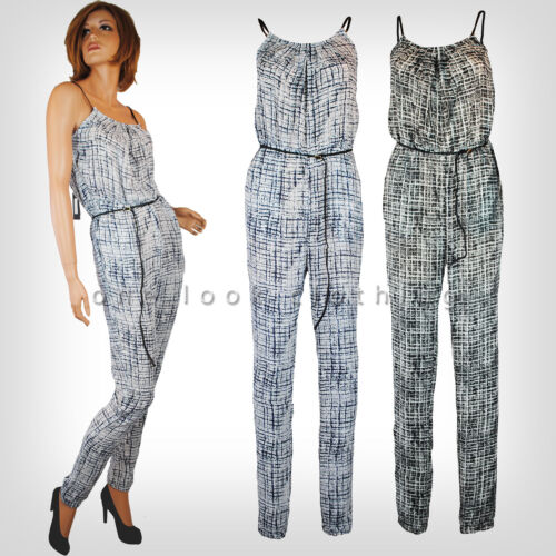 QUALITY LADIES JUMPSUIT CATSUIT PLAYSUIT WHITE NAVY BLACK PRINT W BELT 8-16
