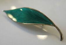 Vintage D A DAVID ANDERSON Denmark Sterling Silver+Enamel Green LEAF PIN BROOCH