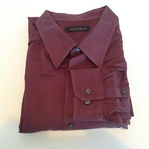 A-X-IST-Mens-2XLT-Maroon-Brown-Long-Sleeve-Dress-Shirt-Big-amp-Tall