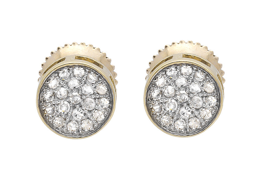 2f0474411 10K Yellow gold Round Disc Pave Cluster Genuine Diamond 6MM Stud Earrings  0.25ct