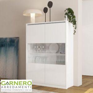 Dettagli su Vetrina moderna OPEN 2 ante bianco laccato lucido mobile  soggiorno salotto sala