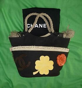 8ac832680311 $2250 CHANEL Canvas Cruise Rope Cabas Tote Beach Black Bag SOLD OUT ...