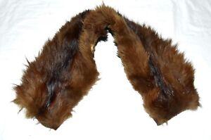 Vintage-Brown-Striped-Fox-Fur-Natural-Hide-Back-Soft-Cuddly-Scarf-Wrap-Collar