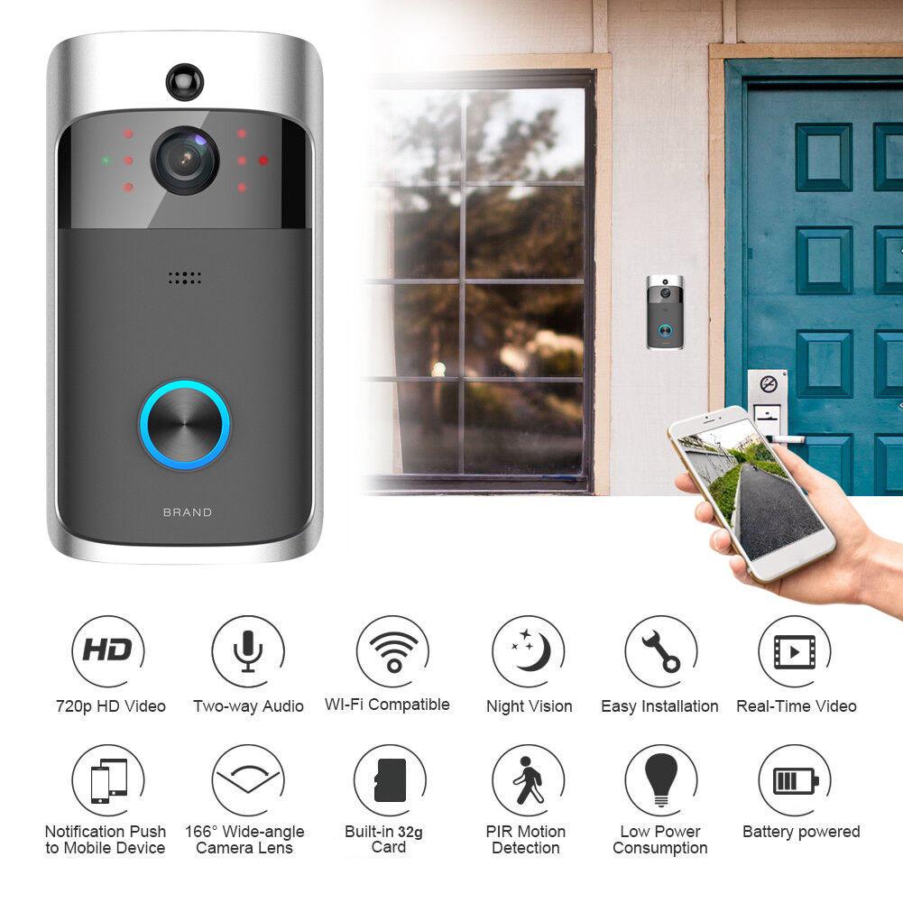 HD 720P Camera Doorbell WiFi Smart Video Door Phone Wireless Intercom System
