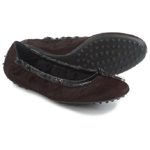 grande sconto New Tod's donna donna donna Ballet Flats Calf Hair Leather Trim scarpe Maroon  670 Dimensione 5.5  consegna gratuita e veloce disponibile