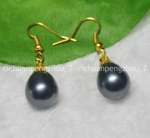 12x16mm Naturel Noir South Sea Drop Shell Perle Dangle Plaqué Or Crochet Boucle d/'oreille