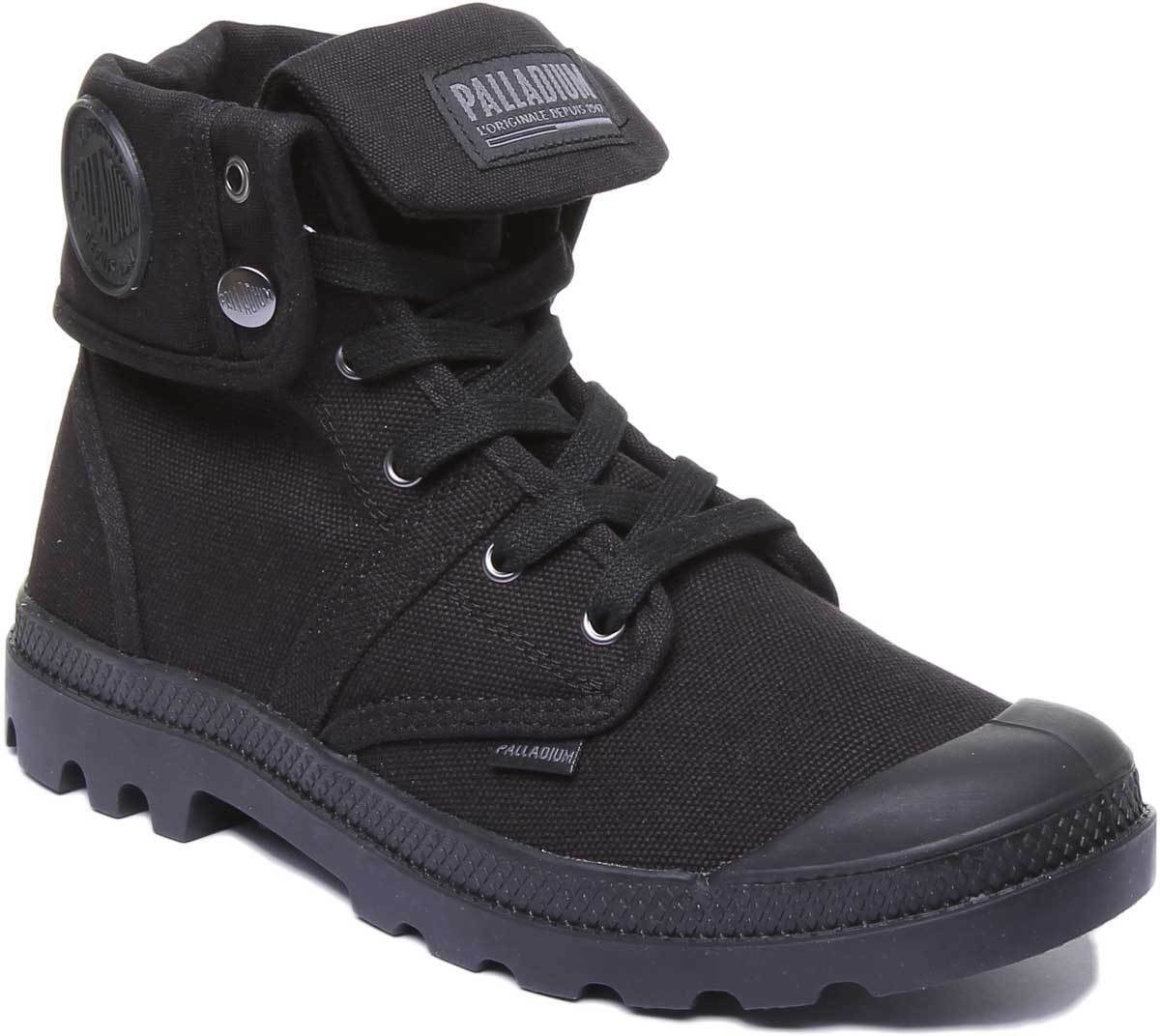 Palladium Pallabrouse Holgado Hombre Lona Negra Mono Hi Top botas tamaño de Reino Unido 6 - 12