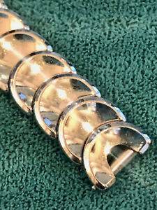Kreisler-White-Gold-Filled-Deco-039-Cresent-Moon-039-Ladies-Vintage-Watch-Band-10mm