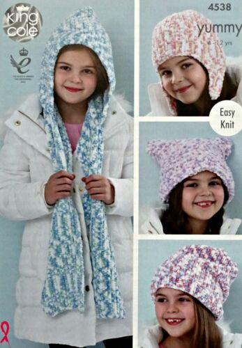 KNITTING PATTERN Girls Easy Knit Helmet Hats and Hooded Scarf Yummy Chunky 4538