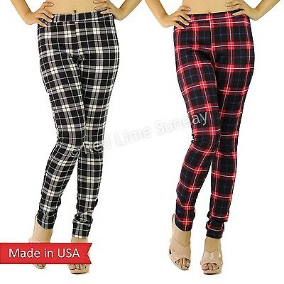 New Women Winter Plaid Check Preppy Print Black Red Leggings Tight Pants USA