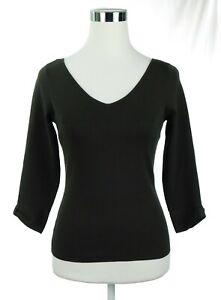 NWOT-Ann-Taylor-V-Neck-Women-039-s-Sweater-Brown-Sz-XS-3-4-Sleeve-75-Silk-25-Nylon