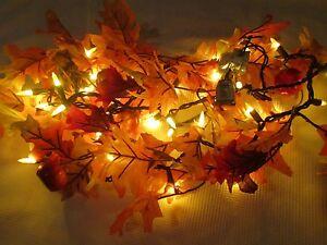 Maple Garland String Lights : Fall Thanksgiving Maple Leaf LIGHTED Garland String Lights Decoration Decor 6FT