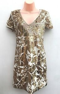 Ladies-Ex-Miss-Selfridge-Stunning-Gold-Sequin-Stretch-Party-Dress-Sizes-4-16