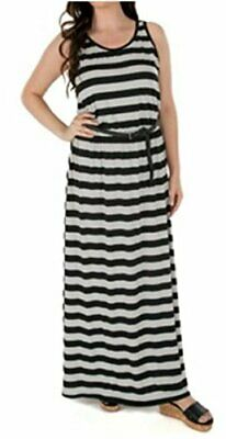 Nwt Womens Fever Long Maxi Striped Dress Black Gray Grey Belted S M L XL