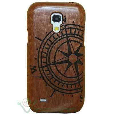 Custodia cover rosa venti in VERO LEGNO per Samsung Galaxy S4 mini i9195 rigida