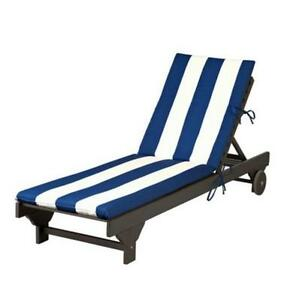 Blue white cabana stripe outdoor chaise lounge cushion pad for Blue and white striped chaise lounge cushions