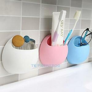 Bathroom-Kitchen-Wall-Suction-Cup-Toothbrush-Toothpaste-Holder-Storage-Pocket