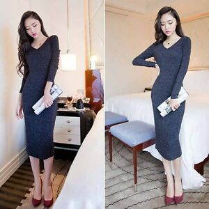 Women-039-s-Korean-Autumn-Winter-Knitted-Sweater-Long-Sleeve-Dress-Bodycon-V-Neck