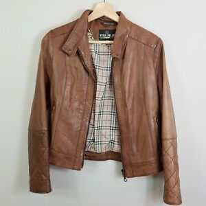 VERA-PELLE-Womens-Brown-Leather-Distressed-Jacket-Size-AU-10-or-US-6
