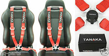 X2 Tanaka Universal Red 4 Point Camlock Quick Release Racing Seat Belt Harness