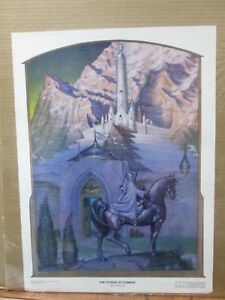 Vintage-poster-The-citadel-at-Sunrise-wizard-Rings-elves-1970-039-s-Inv-G827