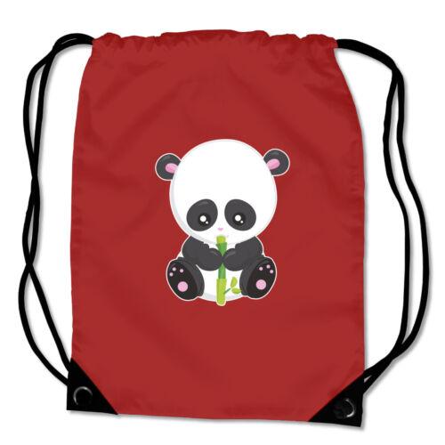 Turnbeutel Panda mit Bambus Sportbeutel Sporttasche  8 Farben 45 x 34 cm