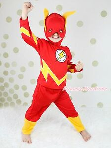 Halloween-Children-Costume-Red-Flash-Outfit-Set-Dress-Up-Party-Kid-Clothing-2-7Y