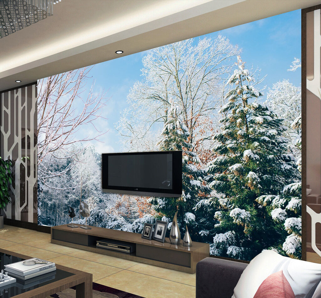 3D Snow, pine trees 3266 Wall Paper Print Wall Decal Deco Indoor Wall Murals