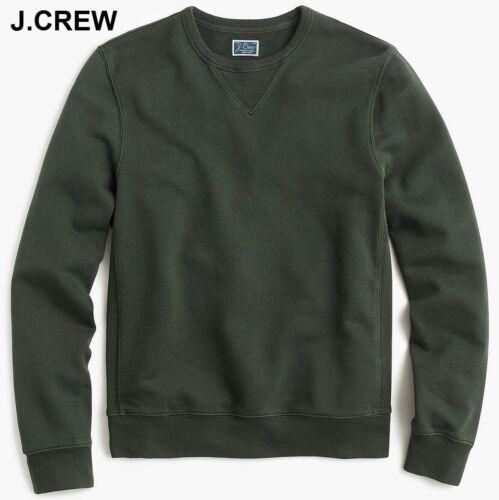 J.CREW french terry dark moss forest green crewneck thick sweatshirt neck slim