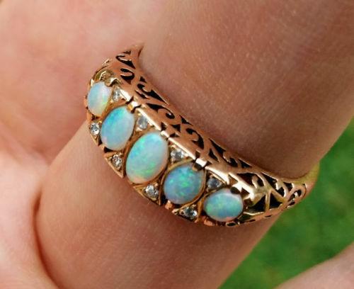 R307 Genuine 9K, 10K, 18K Solid gold Natural Solid Opal & Diamond Eternity Ring