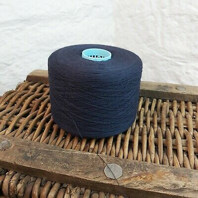 1.4kg Very Fine 2//24NM 90/% Lambswool Yarn Cone Weaving Worsted Wool Dark Blue