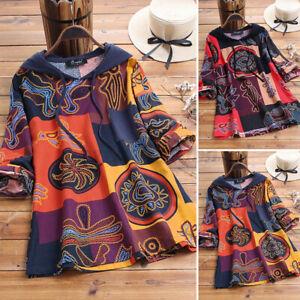 Vintage-Femme-Sweat-Shirt-Impression-Haut-a-capuche-Manche-Longue-Loisir-Plus