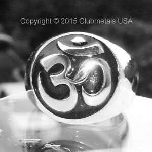 Heavy-Sterling-Silver-Sanskrit-Om-Mantra-Men-039-s-Ring-India-Yoga-Buddhist-Jewelry