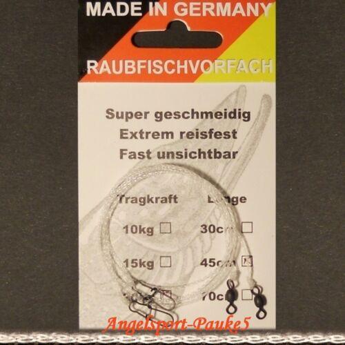 2 Raubfischvorfächer Fluoro Carbon geflochten mit Wirbel und Karabiner 70cm 10kg