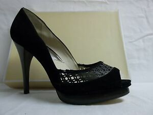 0783c04e440b Michael Kors Size 10 M Zamara Black Suede Peep Toe Heels New Womens ...