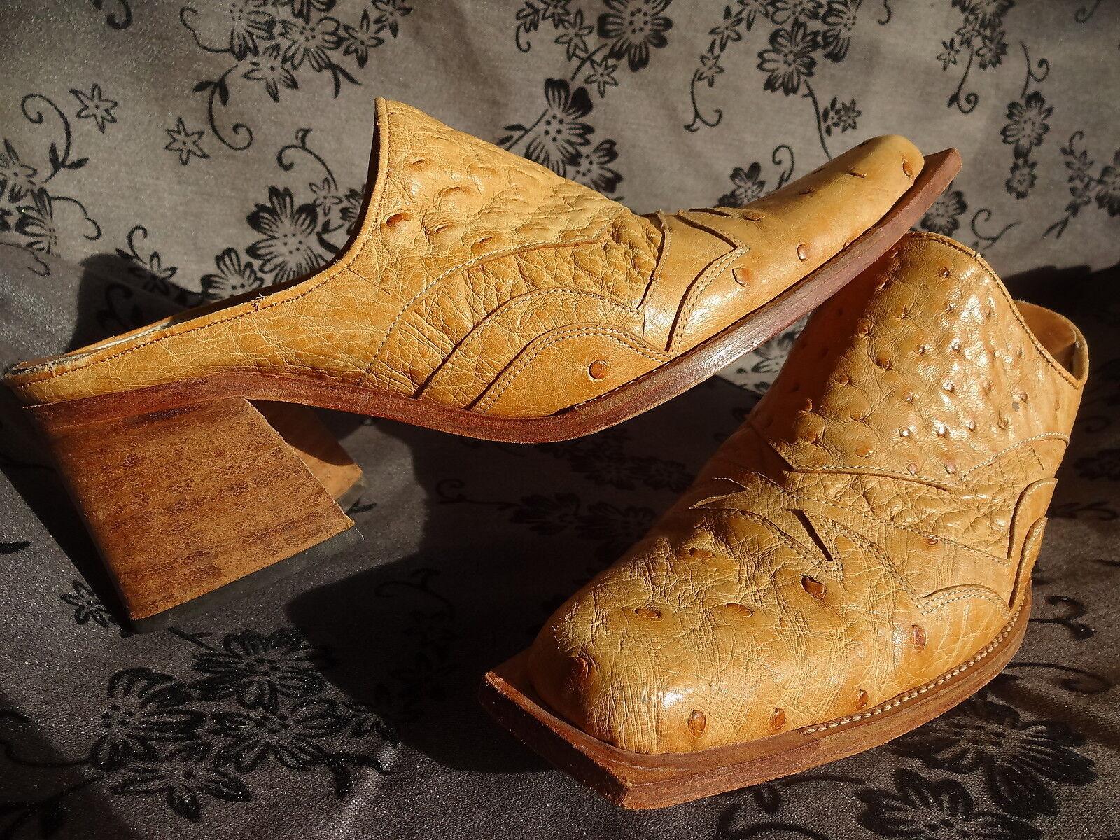 ALAN FUNG CHAUSSURE MULE SANTIAG FEMME CUIR AUTRUCHE MARRON pt 37 Schuhe OSTRICH