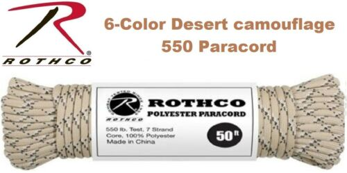 550 Paracord 7 Strand 100/% Polyester Type III Parachute Cord Rope 50 Feet Rothco