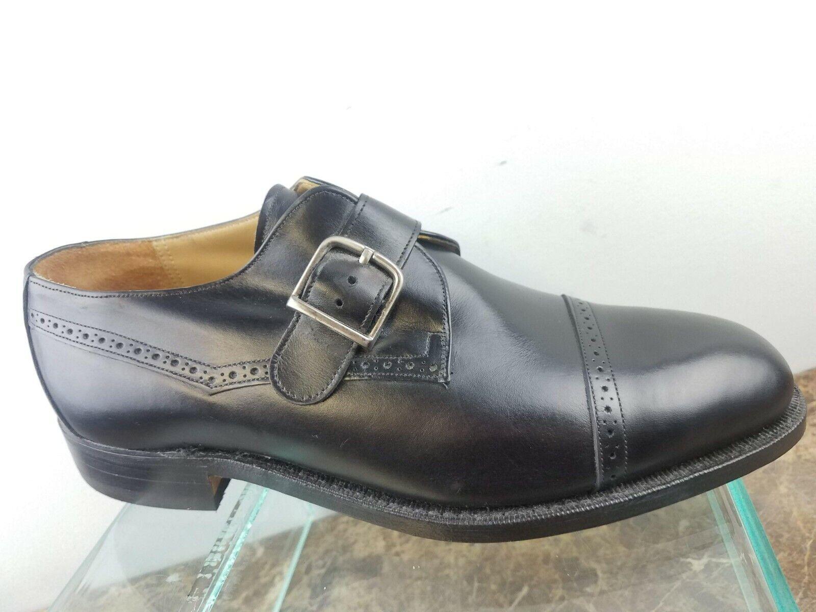 Johnston Murphy USA Aristocraft en cuir noir Monkstrap Cap Toe Chaussures homme 8.5WW
