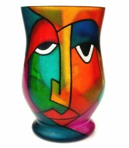 Details About Signed Xl Multi Coloured Abstract Faces Art Glass Picasso Style Face Vase