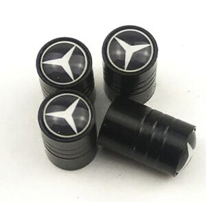 Set-de-4-Bouchons-De-Valve-Mercedes-Benz-Noir-Metal-Performance-custom