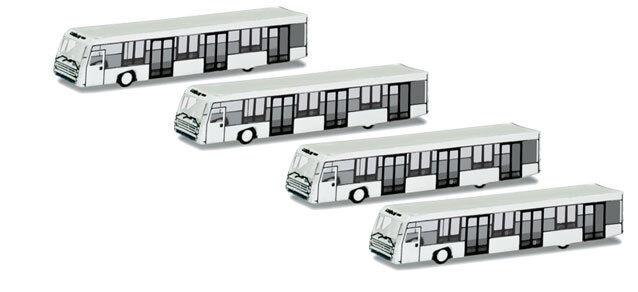 Herpa 521000 Scenix Airport Bus Set 4 PC 1:500 Scale Airport Diorama Accessory
