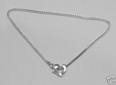 .925 stampled sterling  box anklet chain heart clasp