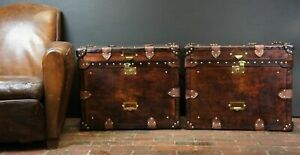 Finest-English-Matching-Pair-of-Leather-Handmade-Side-Table-Trunks