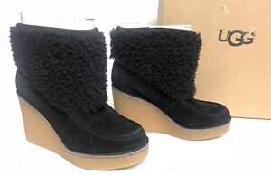 1081f77d64c Details about Ugg Australia Coldin Wedge Ankle Bootie 1018648 Exposed  Shearling Boot Black