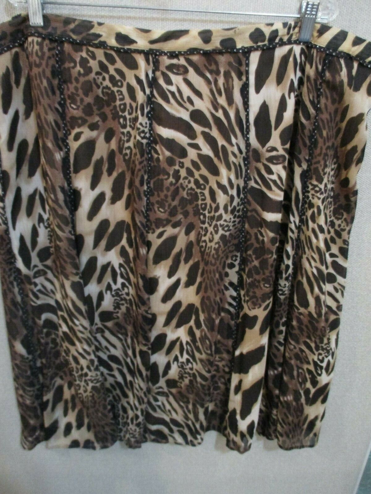 Coldwater Creek Lined Skirt Plus Size 3X NWT Dot Trimmed Animal Print