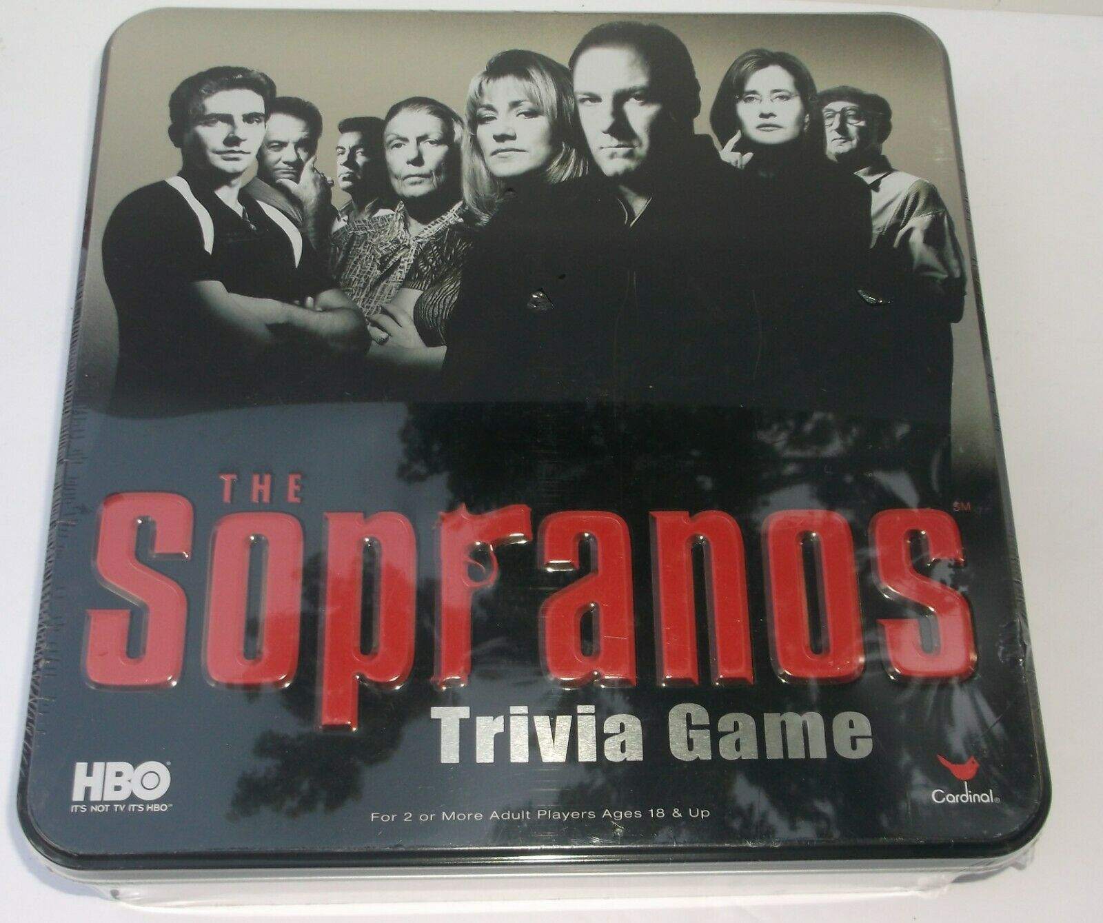 The Sopranos Trivia Game HBO Cardinal NEUF 2004 Métal Tin Home Box Office 18 Up