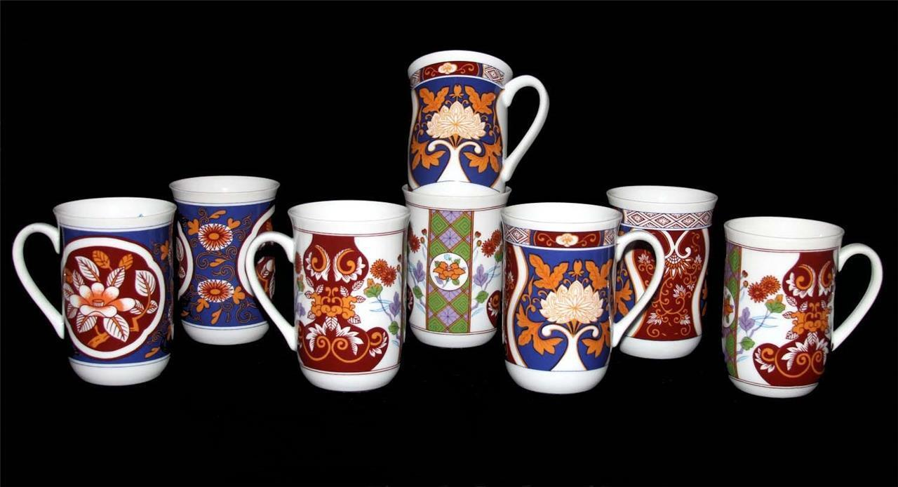 8 VTG Asian Inspired Raised Floral Abstract Diamonds Tall Mugs 3 Designs UNUSED