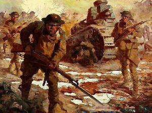 Kunstdruck-Poster-Malerei-Landschaft-Militaer-Kampf-Panzer-Soldat-nofl-0937